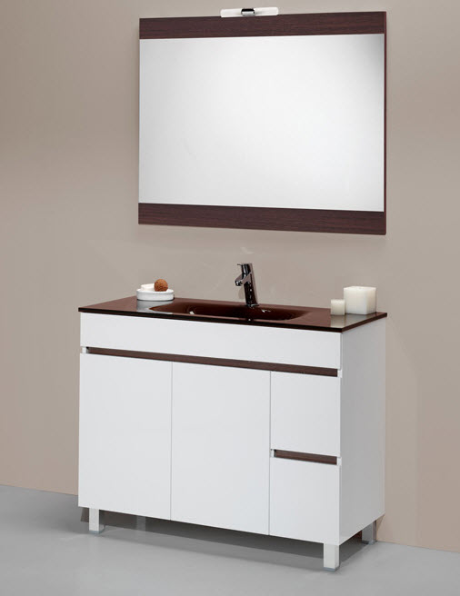 Mueble Sil en Blanco y chocolate
